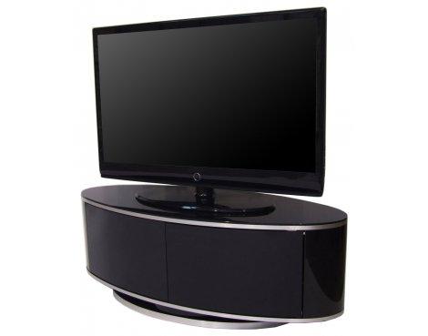 LUNA High Gloss Black Oval TV Cabinet