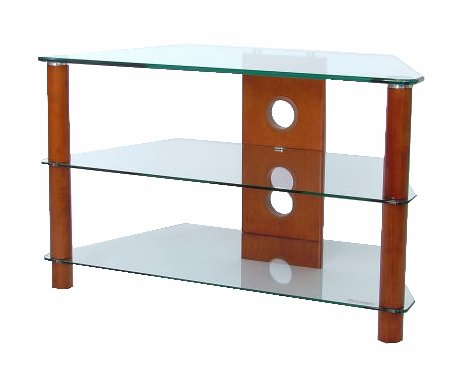 3 Shelf TV stand with Clear glass and mid-wood legs