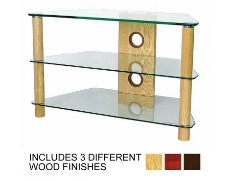 B GRADE/Box slightly damaged 3 Shelf TV stand with Clear glass and light wood legs