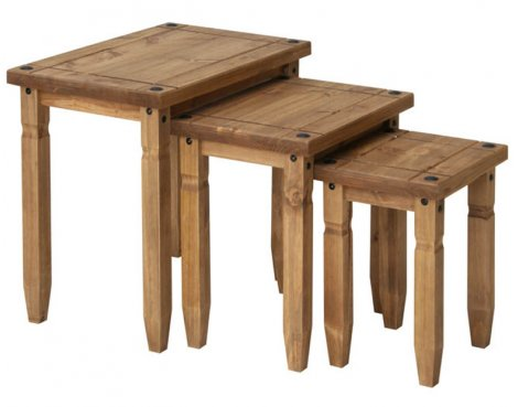 Core Products CR907 Classic Corona Nest of 3 Tables - Rustic Pine
