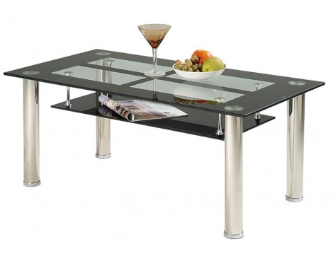 Vegas 2 Shelf Coffee Table with Black and Clear Glass