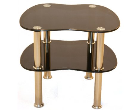 B GRADE Curved Black Glass Side Table with Chrome Legs