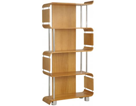Jual Curve - Oak Bookshelf with Chrome Supports