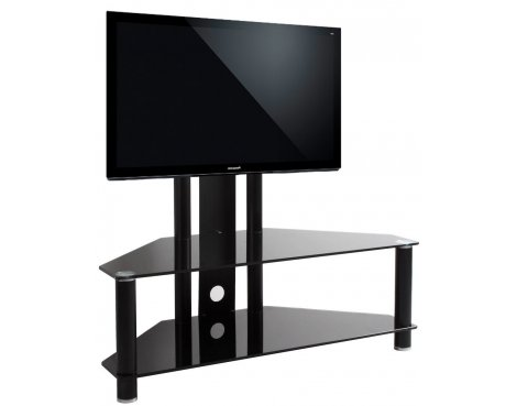 """Black Glass Cantilever TV Stand for TVs up to 50\"""""""
