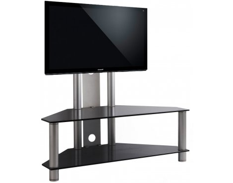 Black Glass Cantilever TV Stand for TVs up to 50""