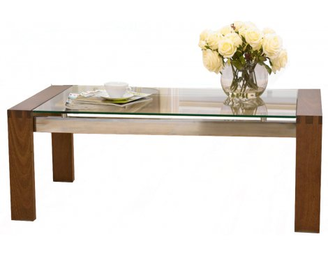 Roma Walnut Coffee Table with Glass Top