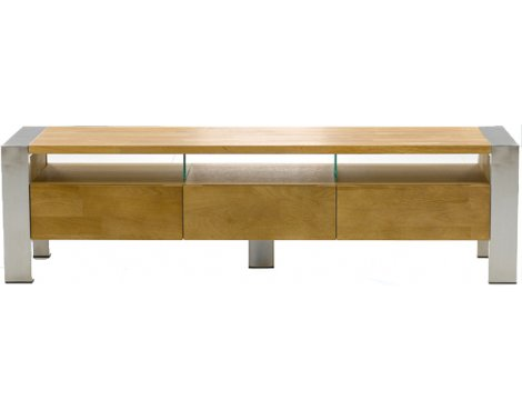 Ohio Oak 3 Drawer TV Stand with Chrome Legs