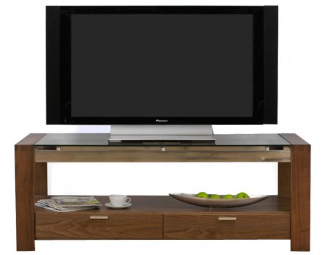 Mark Harris Roma Walnut and Clear Glass TV Stand