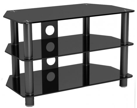 """ValuFurniture GT3 Piano Black Glass Corner TV Stand For Up To 37\"""""""