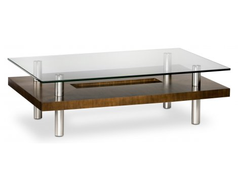 BDI Chocolate Walnut and Glass Long Coffee Table