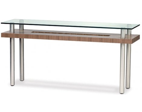 BDI Natural Walnut and Clear Glass Console Table