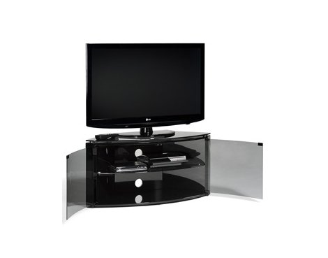 Techlink Bench Piano Black Corner Tv Stand With Glass Doors Ebay