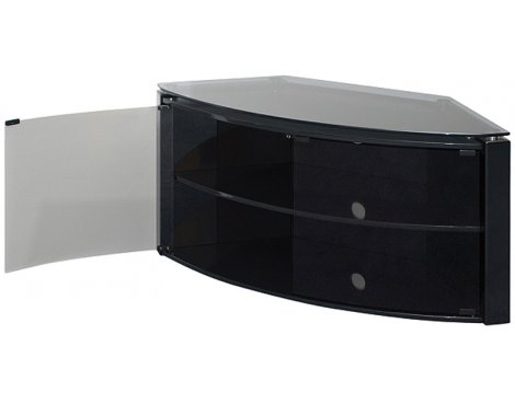 Techlink Bench Piano Black Corner TV Stand with Glass Doors