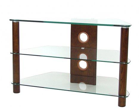 Corner TV Stand with Clear Glass and Dark Wood Legs