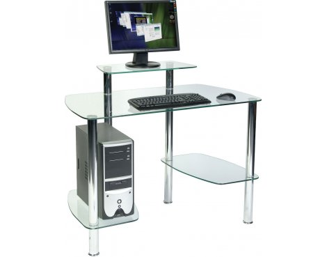 Teknik Clear Glass Workstation with Monitor Shelf