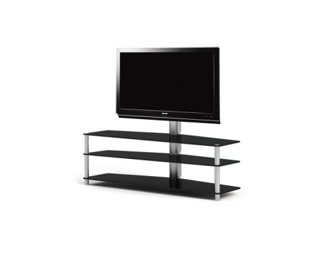 Spectral 3 Shelf Black Glass Cantilever TV Stand