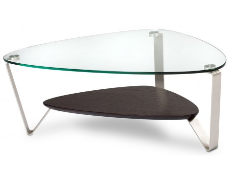 BDI Espresso Stained Oak Coffee Table with Clear Glass