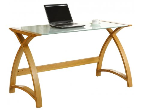 Jual Helsinki Curved Oak and White Glass Laptop Desk