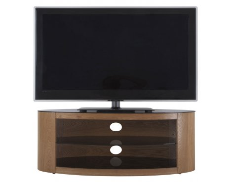 avf buckingham oval tv stand rounded round wood glass for 37 to 55 led curve ebay. Black Bedroom Furniture Sets. Home Design Ideas
