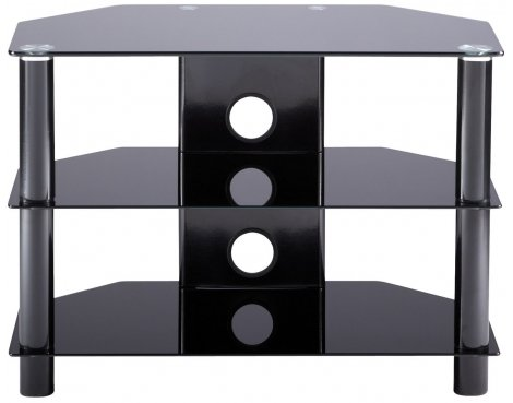 Alphason Essentials - 3 shelf black TV Stand for up to 32""
