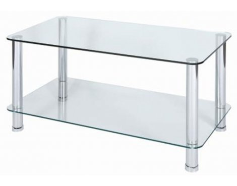 LEVV Milano Clear Glass Coffee Table with Chrome Legs