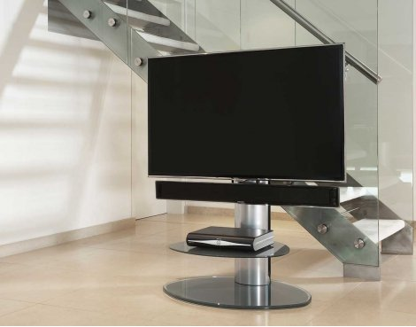 B GRADE/Box slightly damaged Off-The-Wall Motion Silver Cantilever TV Stand