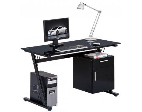 Alphason Montana Black Glass Computer Desk