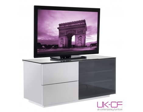 UK-CF High Gloss White TV Cabinet with Black Glass for up to 50""
