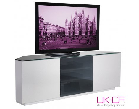UK-CF White Corner TV Stand with Black Glass for up to 60""