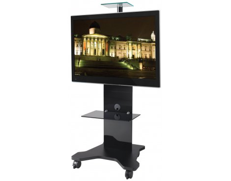 B-Tech BTF820 Black Cantilever TV Stand with Castors