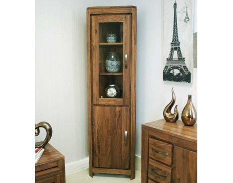 Baumhaus CWC01E Mayan Walnut Corner Display Cabinet