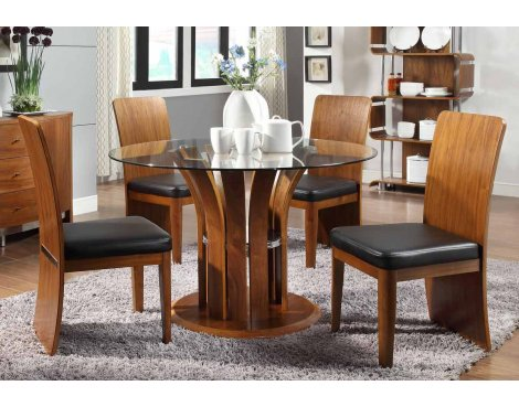 Jual JF601 Walnut Table & 4 Chairs