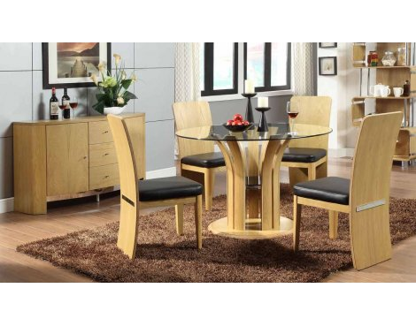 Jual JF601 Oak Table, 4 Chairs & Sideboard