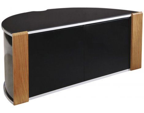 B GRADE/Box slightly damaged Sirius 850 Oak and Black Corner TV Cabinet