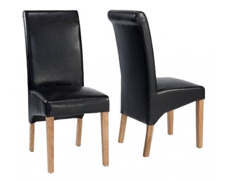 Sherwood Oak Rolltop PU / bicast leather chair - Pair