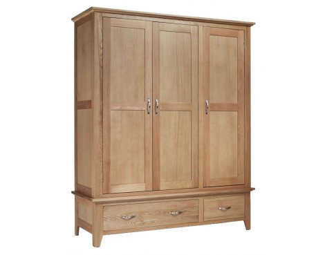 Sherwood Oak Triple Wardrobe 2 Drawer