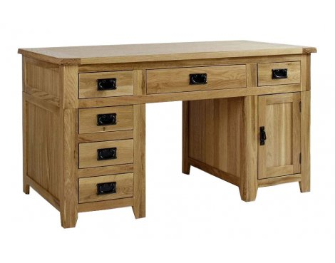 Westbury Reclaimed Oak Double Pedestal Desk