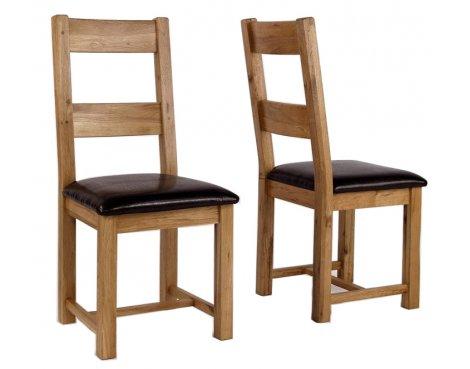 Westbury Reclaimed Oak Leather Dining Chair - Pair