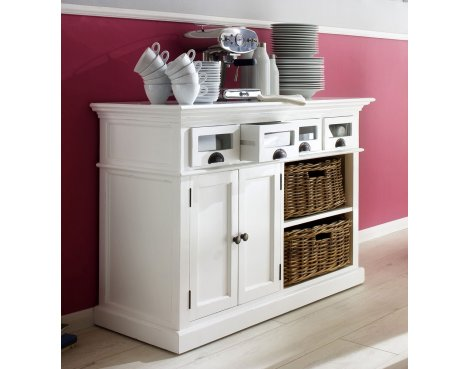 Whitehaven Painted Buffet With Glass Front Drawers & 2 Baskets