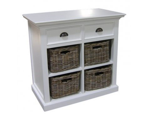 Whitehaven Painted Small Buffet With 4 Rattan Baskets