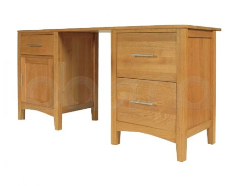 Hereford Oak Double Pedestal Desk