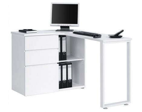 Maja Penninsular White Corner Desk