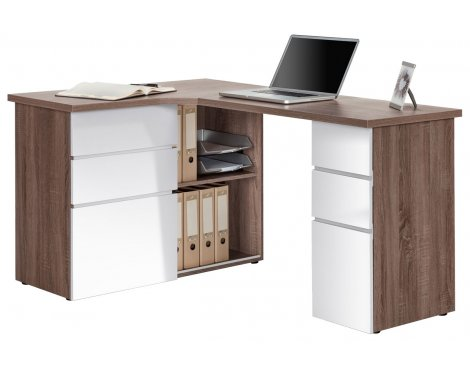 Maja Oxford Truffle Oak & White Corner Desk