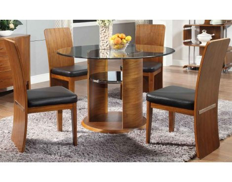 Jual JF603 Walnut Dining Table & 4 Chairs