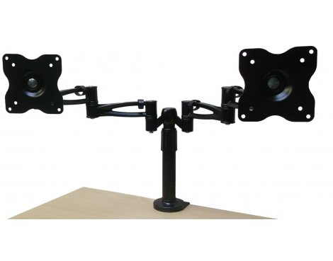 Black Double Arm Twin Screen Desk Mount