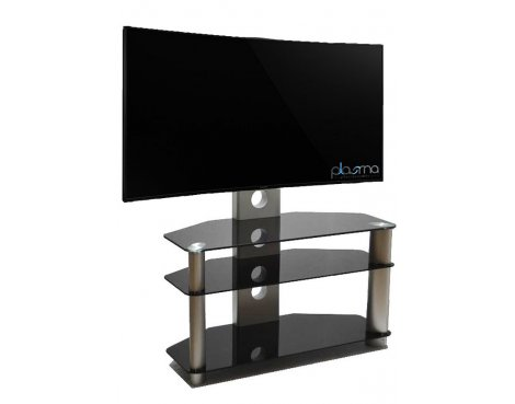 """Piano Black/Silver Universal TV Stand With Bracket for TVs up To 50\"""""""