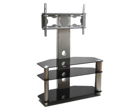 B GRADE/Box slightly damaged Piano Black/Silver Universal TV Stand With Bracket for TVs up To 50""
