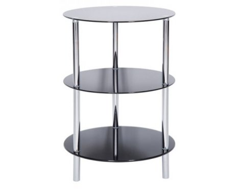 LEVV Sierra 3 Tier Black Glass Lamp Table