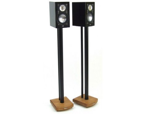 MOSECO 10 Black & Medium Bamboo Speaker Stands