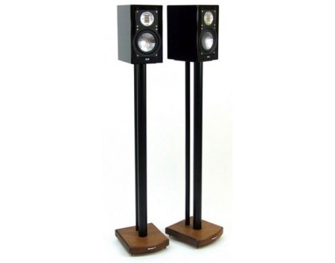 MOSECO 10 Black & Dark Bamboo Speaker Stands
